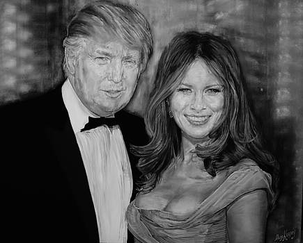 Portrait of future President Donald Trump and his wife by Alex Krasky