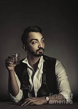 Portrait Of Man With Drink by Amanda Elwell