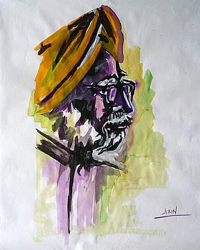 Portrait of Manmohan Singh by Abin Raj