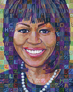 Portrait Of Michelle Obama by Randal Huiskens