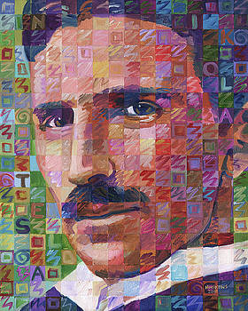 Portrait Of Nikola Tesla by Randal Huiskens