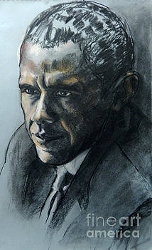 Charcoal Portrait of President Obama by Greta Corens
