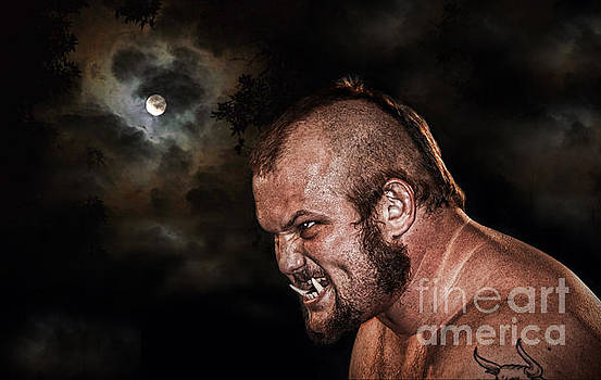 Jim Fitzpatrick - Portrait of Pro Wrestler War Pig Jody version II