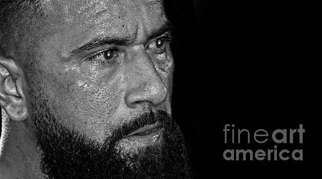 Portrait of Pro Wrestler Will Cuevas black and white version II by Jim Fitzpatrick
