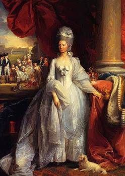 West Benjamin - Portrait Of Queen Charlotte Of The United Kingdom With Windsor And The Royal Family In The 1779