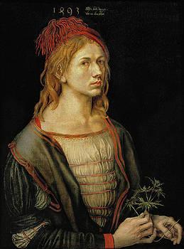 Albrecht Durer - Portrait of the artist holding a thistle