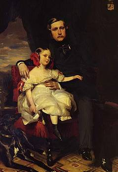 Winterhalter Franz Xaver - Portrait Of The Prince De Wagram And His Daughter Malcy Louise