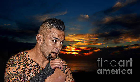 Portrait of Wrestling Champion Kimo by Jim Fitzpatrick