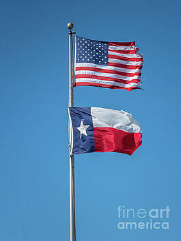 Portrait View of the Texas Flag Under the USA Flag by PorqueNo Studios