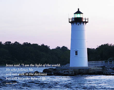 Portsmouth Lighthouse with Bible Verse by Lynn Harrison