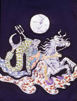 Poseidon Rides the Sea on a Moonlight Night by Carol  Law Conklin