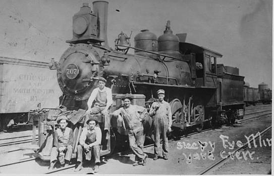 Chicago and North Western Historical Society - Posing With Chicago and North Western Steam Engine in Wisconsin