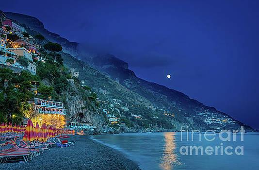 Positano Beach at Night by Inge Johnsson