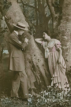 French School - Postcard of lovers carving a heart on a tree, 1913   vintage photo