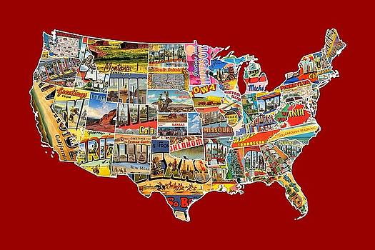 Postcards of the United States Vintage USA Lower 48 Map Choose Your Own Background by Design Turnpike