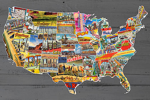 Postcards of the United States Vintage USA Lower 48 Map on Gray Wood Background by Design Turnpike