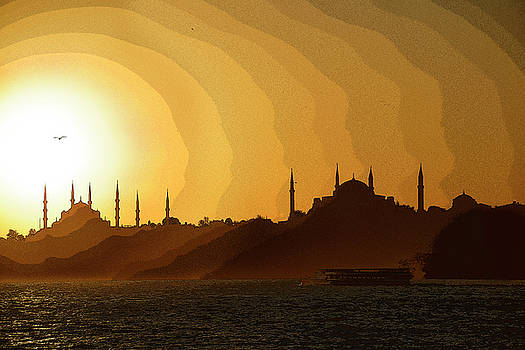 Reimar Gaertner - Posterized silhouette of Blue Mosque and Hagia Sophia at sundown