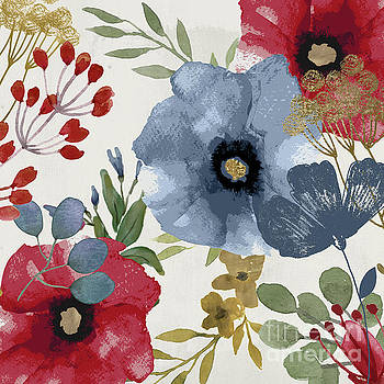 Posy Watercolor Poppies II by Mindy Sommers