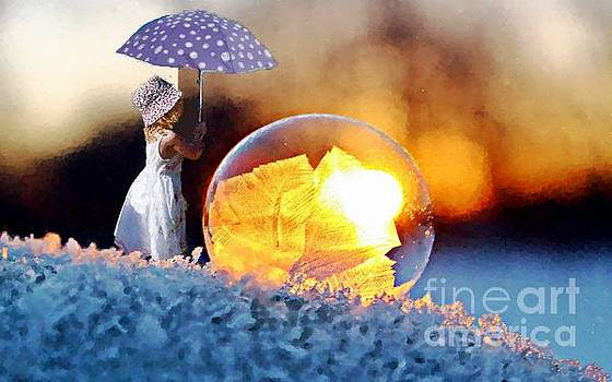 Girl With Umbrella by MS  Fineart Creations