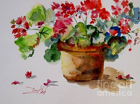 Pot of Geraniums by Delilah  Smith