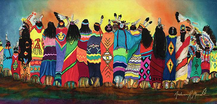 Pow Wow Blanket Dancers by Anderson R Moore