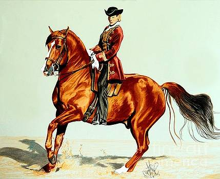 Vendaval and Crystal Samani - Lusitano Stallion by Cheryl Poland