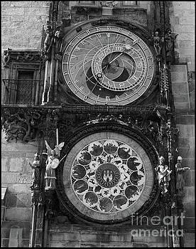 Prague Astronomical Clock in B/W by Benjamin Wiedmann