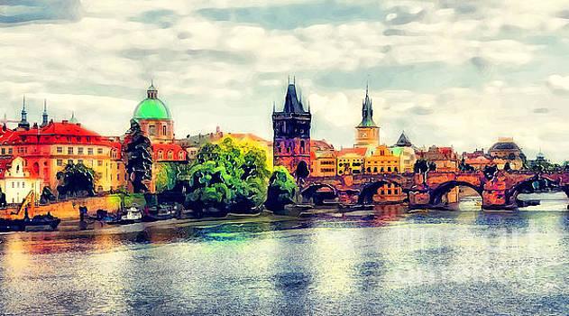 Justyna Jaszke JBJart - Prague bridge watercolor