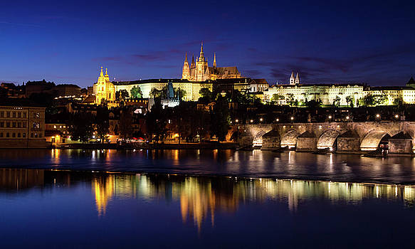 Colin Cuthbert - Prague Castle and Charles Bridge at Night