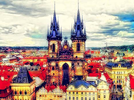 Justyna Jaszke JBJart - Prague Church Of Our Lady Before Tyn Watercolor
