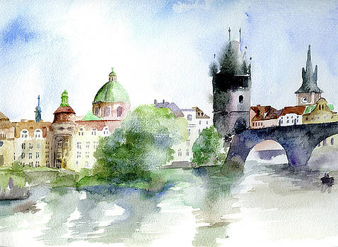 Prague Old Town from River by Lydia Irving
