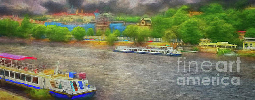 Prague River boats panorama by Leigh Kemp