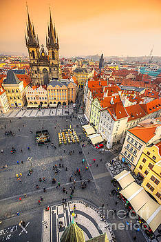 Prague - Tyn Church and Old Town Square by Luciano Mortula
