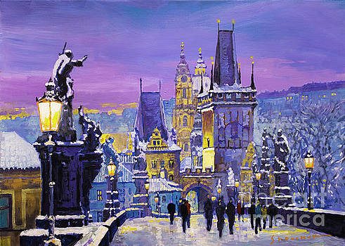 Prague Winter Charles Bridge 3 by Yuriy Shevchuk