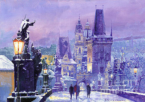 Prague Winter Charles Bridge by Yuriy Shevchuk