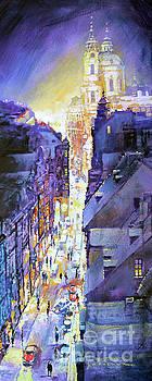 Praha Mostecka str. Winter Evening by Yuriy Shevchuk