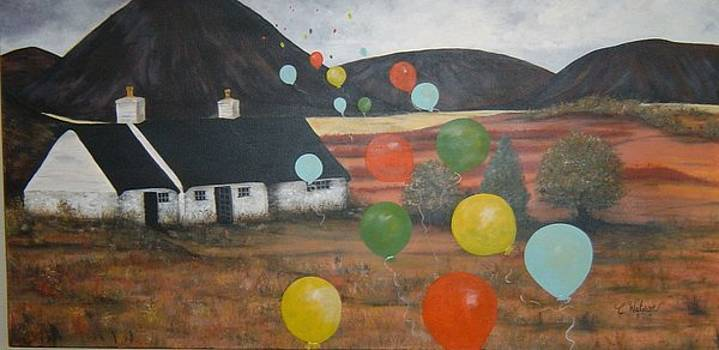 Prairie Home with Balloons by Cindy Watson