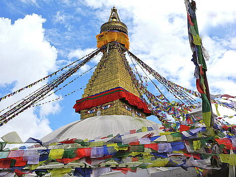 Pray Flags Boudhanath Kathmandu by Pauline Margarone