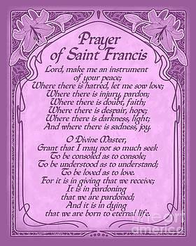 Ginny Gaura - Prayer of Saint Francis - Pope Francis Prayer -Orchid Art Nouveau