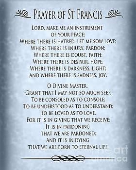 Ginny Gaura - Prayer of St Francis - Pope Francis Prayer - Blue-Grey Parchment