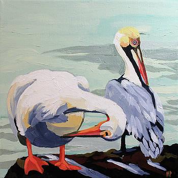 Preening Pelicans by Melinda Patrick