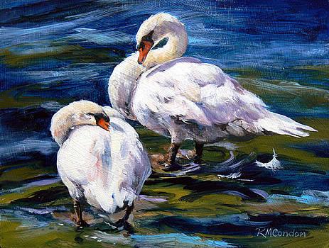 Preening Swans by RoseMarie Condon