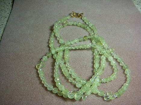 Prehnite Long Strand Necklace by Antoinette DAndria Rumely