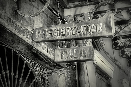 Preservation Hall Sign bw by Jerry Fornarotto