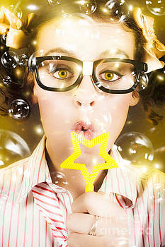 Pretty Geek Girl At Birthday Party Celebration by Jorgo Photography - Wall Art Gallery