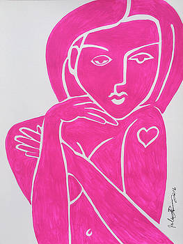 Pretty in Pink Tattoo Girl Poster Print  by Robert R Splashy Art Abstract Paintings