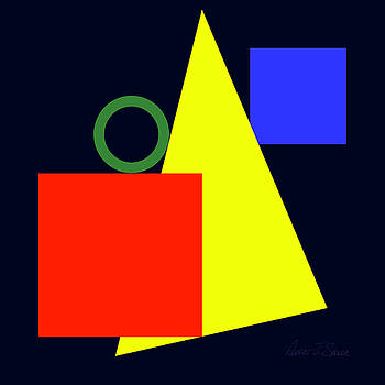 Primary Squares and Triangle with Green Circle by Robert J Sadler