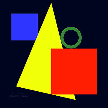 Primary Squares and Triangle with Green Circle Two by Robert J Sadler