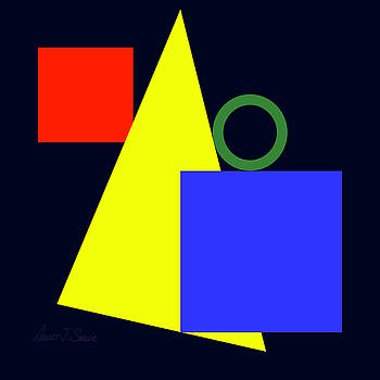 Primary Squares Blue Right and Triangle with Green Circle by Robert J Sadler