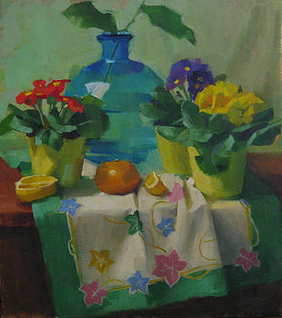 Primroses and turquoise vase by Kathleen Weber